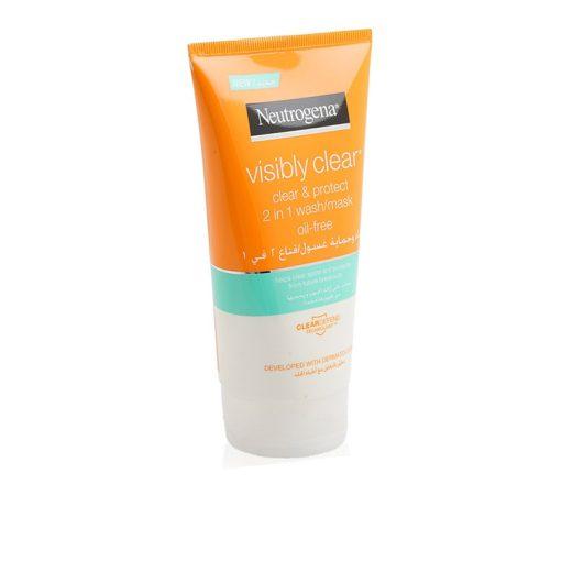 ماسک و شوینده ضدجوش و لک نوتروژنا Neutrogena Visibly Clear Clear and Protect 2 in 1 Wash Mask