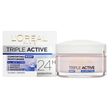 کرم آبرسان شب لورال تریپل اکتیو LOreal Triple Active 24H Hydration Night Cream