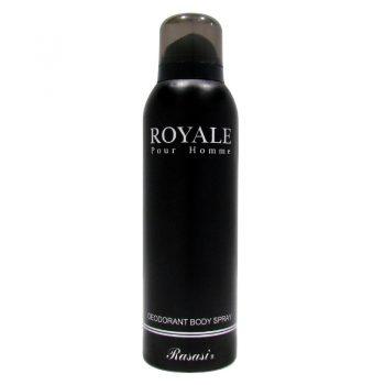اسپری دئودورانت رویال رصاصی اصلی مشکی_سبز Rasasi Royale Pour Homme Deodorant Body