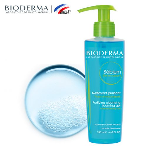 ژل شستشوی بایودرما مناسب پوست چرب و مختلط Bioderma Sebium Gel Moussant Face Washing Gel For Oily And Combination Skins 200ml