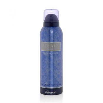اسپری دئودورانت رویال رصاصی آبی Rasasi ROYALE Blue Pour Homme Deodorant Body